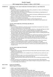 Acute Care Nurse Practitioner Resume Samples Velvet Jobs