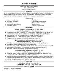 Quality Assurance Auditor Resume Sample Quality Assurance Technician Resume Sample Rimouskois Job Resumes 14