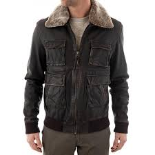 men s er waxed brown leather jacket