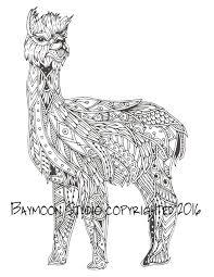 Alpaca Zentangle para colorear página páginas por BAYMOONSTUDIO ...