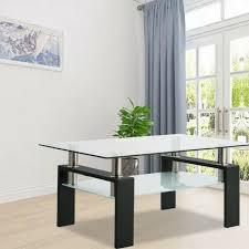 wood console table black glass top slat