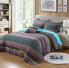 HNNSI Bohemian Quilt Comforter Sets Queen Size 3 Piece, Striped ... & HNNSI Bohemian Quilt Comforter Sets Queen Size 3 Piece, Striped Patchwork  Boho Bedspread Set, Cotton Boho Bed Sheets, Wedding Gift Exotic Bedding Sets Adamdwight.com