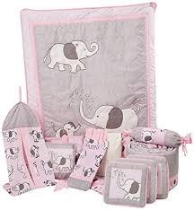 Amazon Boutique Pink Gray Elephant 13pcs Crib Bedding Sets