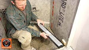 shower on concrete floor