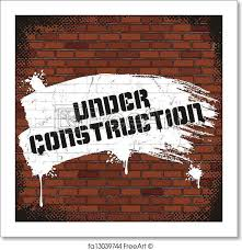 free art print of under construction sign painted on old brick wall