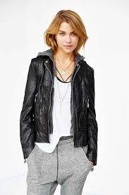 doma bianca hooded leather er jacket black
