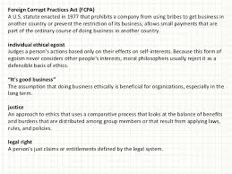ethical issues in organizational behavior 26 foreign corrupt practices