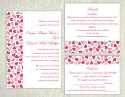 wedding invitations with hearts printable wedding invitation suite printable invitation pink red