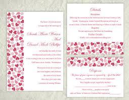 wedding invitations with hearts printable wedding invitation suite printable invitation pink red
