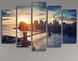 large xl manhattan new york city canvas print city skyline at sunset manhattan bridge canvas wall art print home decoration stretched on new york city skyline canvas wall art with city canvas etsy