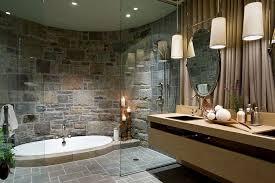 rustic stone bathroom designs. stone wall bathroom design dark brown vanity double sink white octagon tile floor glass side floating wood vessel rustic designs