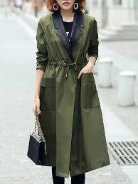 aiov pockets casual solid long sleeve trench coat women 12ouar8f39