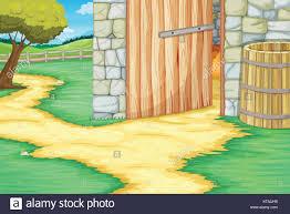 open barn door scene ilration