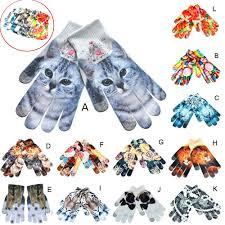 <b>Mens</b> Womens Winter Warm Gloves 3D <b>Print</b> Knitted Touch Screen ...