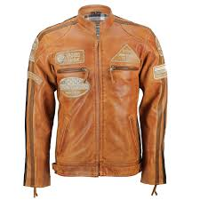 xposed mens real leather tan brown racing badges