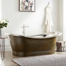 78 extra wide marcy hammered copper double slipper tub nickel interior dark
