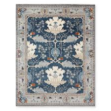 fleur hand knotted rug peacoat spice