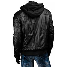 mens slim fit black leather jacket with hood