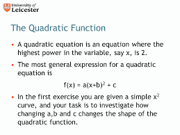 the quadratic function a quadratic equation is an equation where the highest power in the variable