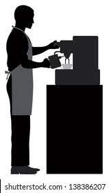 The global community for designers and creative professionals. Male Coffee Barista Silhouette Making Espresso Stock Illustration 138386207
