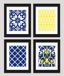 8x10 prints yellow navy bedroom art