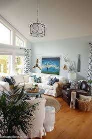 navy and white cozy coastal living room refresh at thehappyhousiecom12 cozy beach house living room72 beach