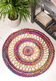 round multi colour cotton jute braided rug 90cm