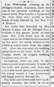 Felix Rice Josephine Lyons Marriage - Newspapers.com