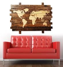 World Map Home Decor Extra Large Rustic Stained Wood World Map Wall Art 50