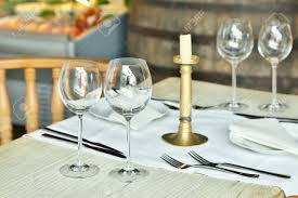 glasses table setting. Stock Photo - Table Setting With Wine Glasses At The Vintage Cafe. G