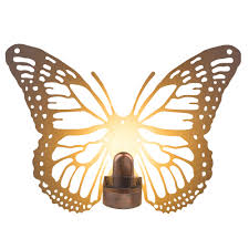 Solar Butterfly Wall Light Led Solar Wall Lamp In Butterfly Design Rust Colors