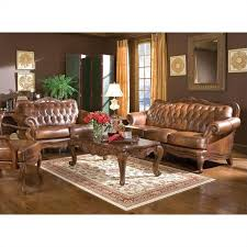 coaster vienna classic tufted leather sofa in brown