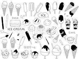 アイスクリーム モノクロイラスト No 529507無料イラストなら