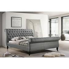 upholstered leather sleigh bed. LuXeo Nottingham Gray King Sleigh Bed Upholstered Leather T