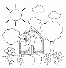 Small Picture Preschool House in Spring coloring page for kids seasons coloring