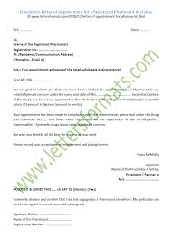 How To Write Appointment Letter Letter Of Appointment For A Registered Pharmacist In Charge