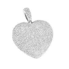 pave diamond heart necklace 14k gold 2 2ct white image