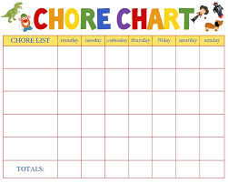 Weekly Chore Charts Templates New Kids Chore Calendar