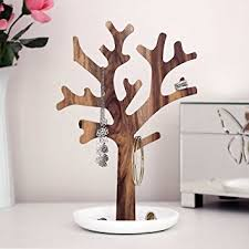 Acacia Jewellery Tree Stand - Beautiful Wooden Necklace Tree Stand with  Base. Great Gift for