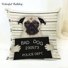 dels about pug gifts cushion er bad dog jail mug shot funny gift present collectables