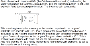 an alternative to equation 8 35a the colebrook wh