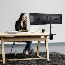 loctek d2d full motion dual arm desk monitor mount stand 10 27