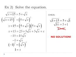 5 ex 2 solve the equation check no solution