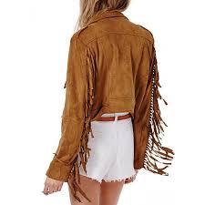 women s fringe asymmetrical zipper suede leather jacket