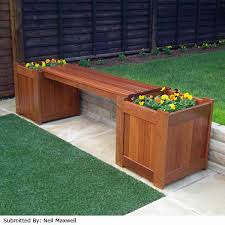 bench with planters planter box patio diy outdoor cedar favorable