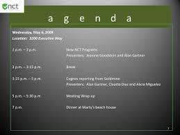 Meet And Greet Meeting Agenda 2009 Nct Sales Meeting Agenda