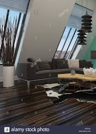 contemporary lounge lighting. Modern Sitting Room Interior Decor With A Sloping Wall Windows, Contemporary Lounge Suite And Lighting, Parquet Floor Units Mounted On Green Lighting T