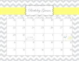 Baby Pool Calendar Template Shower Printable Birthday Guesses By Due