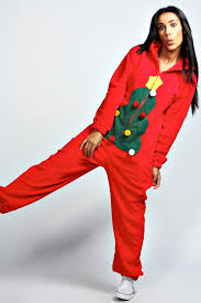 Holly Christmas Tree Onesie - red, red, Online Shopping, Women's ...