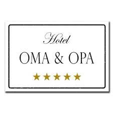 Hotel Oma Opa Deko Schild Wandschild